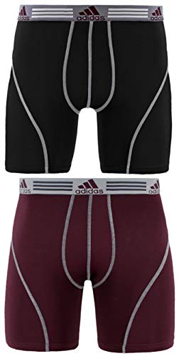 adidas Men's Sport Performance Boxer Briefs Underwear (2 Pack), Black/Light Onix Dark...