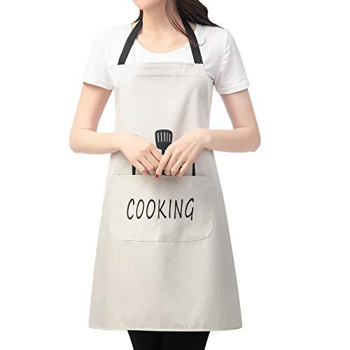 ORYCOOL Schürze, Kochschürze, Grillschürze,wasserdichte Kochschürze mit Taschen ausgestattet, Stylisch Schürze für Frauen und Männer - Grau