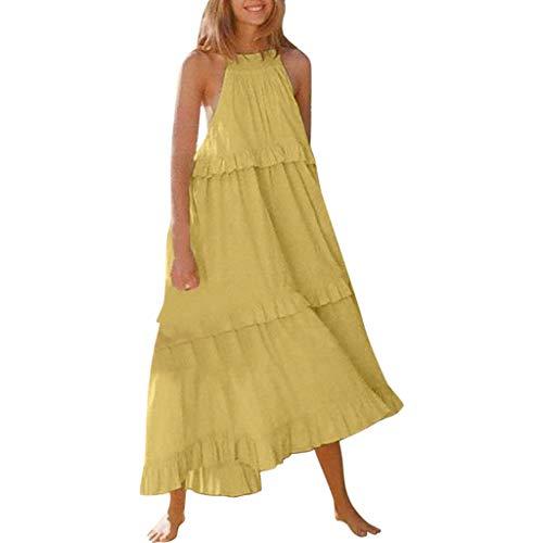 Vestidos Mujer Pastel Color Sólido Falda Sin Mangas Moda 2019 Sexy Suelto Vestir