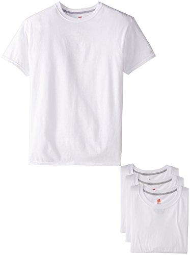 Hanes Ultimate Men's 4-Pack FreshIQ White Slim Fit Crew T-Shirt,White,Medium