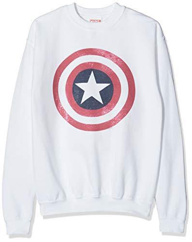 Marvel Jungen Avengers Captain America Distressed Shield Kapuzenpullover, Weiß (White Wht), 9-10 Jahre (Herstellergröße: 9-11y)