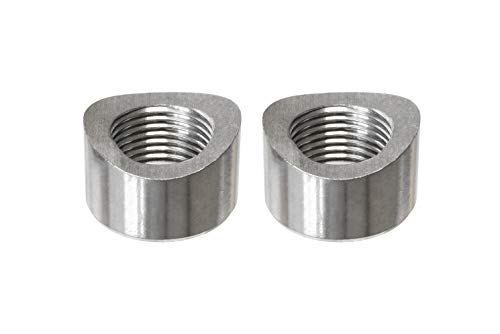 PitVisit Exhaust Weld Bungs Stainless Steel for Standard Size Bosch Style Lambda Wideband Oxygen Sensors Universal Weld-On - Pack of 2 (Notched)