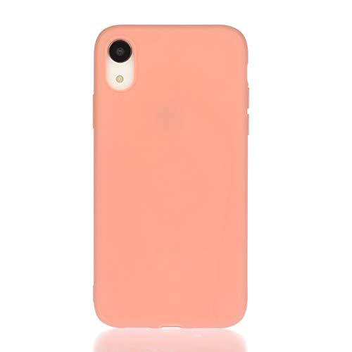 Everainy (3 pak compatibel met iPhone XR silicone hoes ultradunne hoezen rubber telefoonhoes voor iPhone XR beschermhoes stootvast TPU gel bumper cover (rood 1/bruin/oranje)
