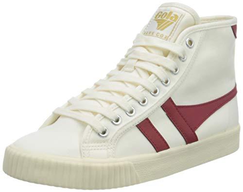 Gola Tennis Mark Cox High, Zapatillas para Mujer, Off White/Deep Red, 25 EU