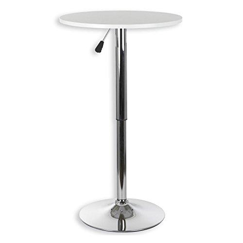 IDIMEX Table Haute de Bar Vista Table bistrot Ronde Mange-Debout Hauteur réglable avec Plateau en MDF Blanc et Socle en métal chromé