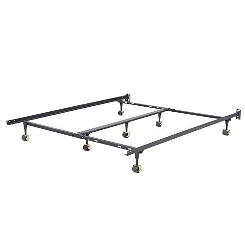 Classic Brands 127006-1100 Heavy Duty Adjustable Metal Bed Frame with 7-Locking Rug Rollers, All Sizes, Black