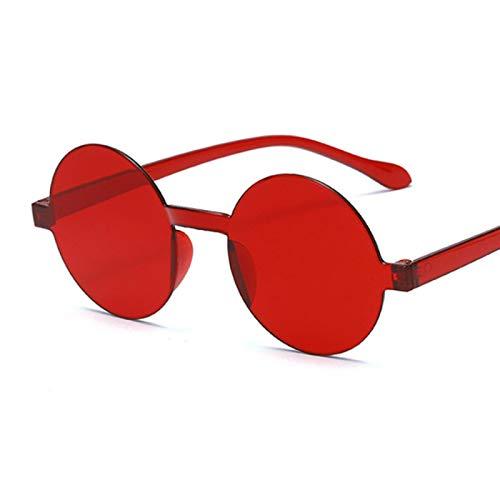 SONGQ Moda Gafas De Sol Redondas Sin MonturaPersonalidad Gafas De Sol Transparentes Sombrilla Espejo Rojo