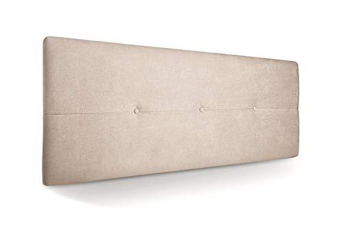 SuenosZzz-Cabecero Jazmin Tapiceria tela Rio Beige Antimanchas 160 x 50 x 4 cm con capitone