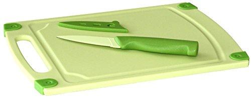 culinario 3er-Set, Schneidebrett 29 x 20 cm, Schälmesser 19 cm und Klingenschutzhülle, in grün