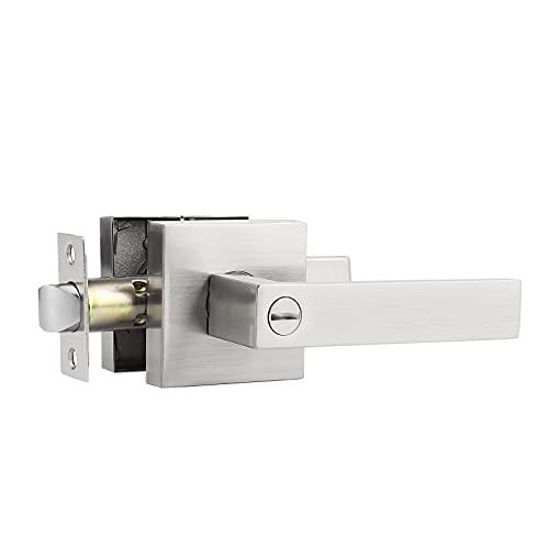 Probrico Privacy Door Handle Interior Door Lever Satin Nickel,Keyless Features, Bedroom and Bathroom Lockset handleset,Heavy Duty, 1 Pack