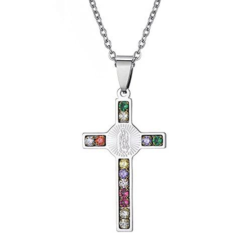 Collar Hombre Plata,Diamante de imitación de cruz de colores con 1 collares grabados Colgantes para nuestra joyería de señora