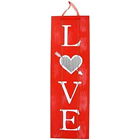 Amazon Com Valentine S Vertical Love Words Wall Sign White Wooden Plaque Wood Planks Home Front Door Hanging Signs For Boyfriend Girlfriend Wedding Party Teacher Wife Husband Mom Special Day Indoor Decor Hanger Home