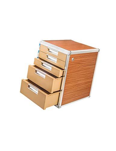 Opbergsystemen 5th Floor aluminiumlegering + houten plaat ladekast kantoorbenodigdheden sorteerkast kastopslag (houtnerf, zilver) kantoorbenodigdheden schrijfwaren A