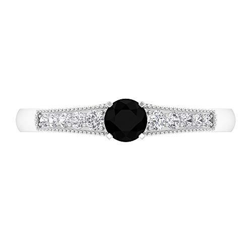 Anillo solitario de 1/2 quilates con piedras laterales, anillo de compromiso de diamante negro, anillo de boda de oro, anillo de declaración para mujer, 18K Oro blanco, Size:EU 56