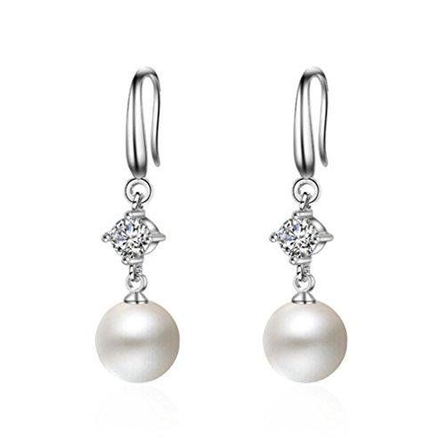 boowhol–Pendientes Perlas 10mm Bling Bling circón Pendientes Pendientes hipoalergénico, Plata de ley 925