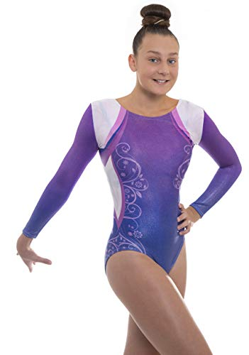 Velocity Dancewear Deluxe Decor Long Sleeve Gymnastics Leotards for Girls (Purple, 9-10 Years)