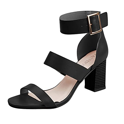 Fullwei Womens Square Toe Stiletto High Heel Sandals Ladies Dressy Chunky Block Heel Cute Ankle Strap Casual Walking Wedding Bridal Party Dress Shoes (Black, 8.5)