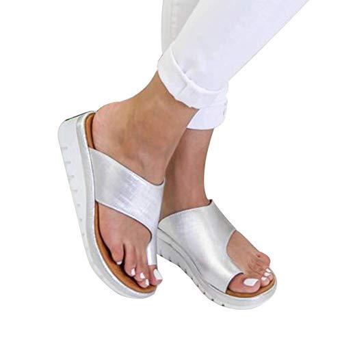 Corrector De Juanetes Zapatos De Cuero De PU para Mujer Plataforma Cómoda Suela Plana Señoras Casual Suave Pie Grande Corrección Sandalia Ortopédica Bunion Corrector