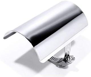 Hitzeschutzblech Hitzeschild Heat Shield Custom Chrom Harley Choppper Chrom 10cm mit Edelstahlschelle