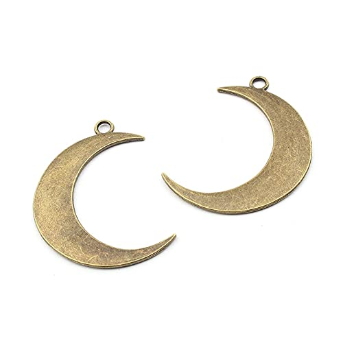 xtszlfj 10 Piezas de Bronce Antiguo de aleación Grande en Forma de Luna Colgante de dijes para DIY Collar de Pendiente Accesorios de fabricación de Joyas 43x32mm