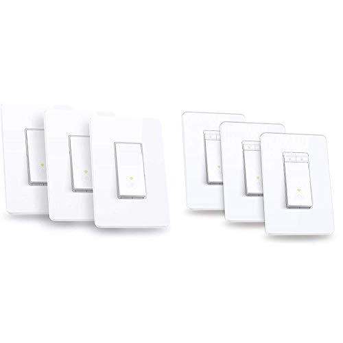 Kasa Smart Light Switch by TP-Link,Single Pole,Needs Neutral Wire,2.4Ghz WiFi Light Switch, 3-Pack & Dimmer Switch by TP-Link, Single Pole, Needs Neutral Wire, WiFi Light Switch for LED Light, 3-Pack