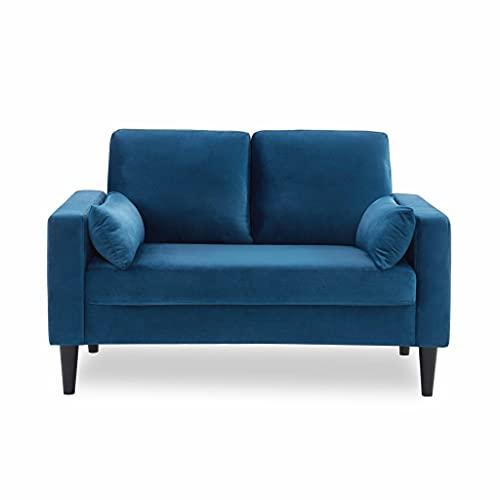 Canapé en Velours Bleu- Bjorn - Canapé 2 Places Fixe Droit Pieds Bois Style scandinave