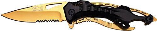 MTech USA Taschenmesser MT-A705 Serie, Messer ALU KOMBI AUFSATZ Griff, Schwarz/ Gold Design, scharfes Jagdmesser, Outdoormesser 9-9,53 cm ROSTFREI Klinge, Klappmesser für  Angeln/ Jagd