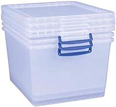 Really Useful Box 3 x 33,5 litra Nestable Box z pokrywką – 380 x 460 x 285 mm – przezroczysty