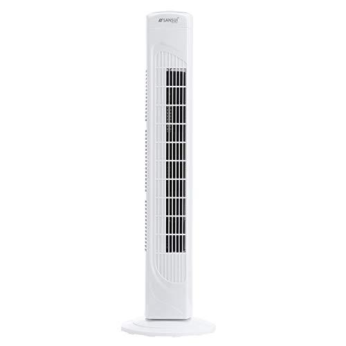 TENGGO Ventilatore a Torre Senza Lama da 45 W con 3 Marce Funzione di temporizzazione Elettrico Sottile Condizionatore d'Aria con Ventola di Raffreddamento