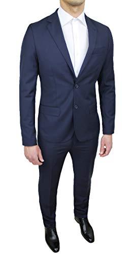 Evoga Abito Completo Uomo Sartoriale Blu Scuro Slim Fit Elegante Cerimonia (46, Blu Scuro)