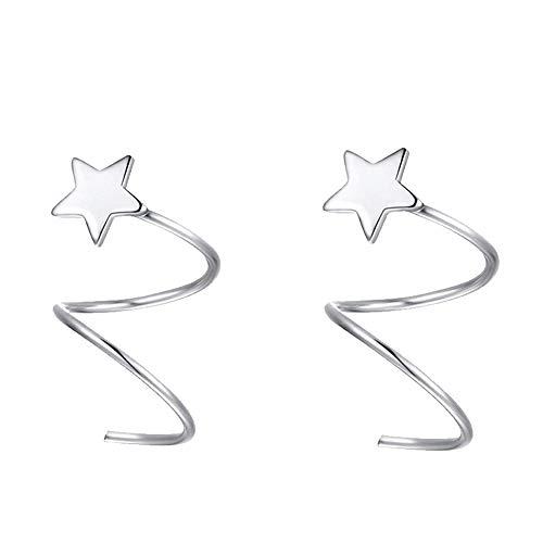 GuDeKe Pendientes estrella plata Aretes
