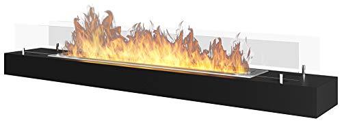 Camino a Bioetanolo da Tavolo 120x19 cm con Vetro Dumas Firebox 1200 Nero
