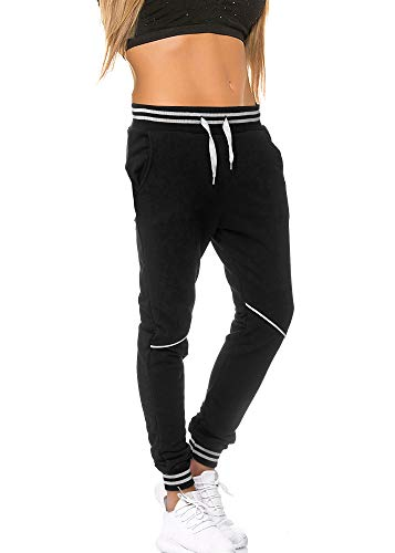 Damen Frauen Jogging Hose Jogger Jeans Streetwear Sporthose chill zuhause Home Modell 1316 Schwarz Weiss S