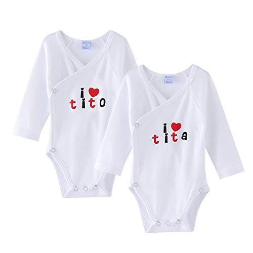 Amomí Body para Bebé, Pack de 2 unidades, Manga Larga, 100% algodón, Suave Bodies con Botones de...