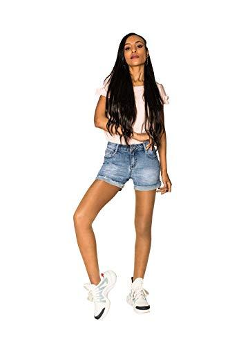 Crazy Age Damen Jeansshorts Basic in Aged-Waschung 5 Pocket Denim Classic Jeans Bermuda-Shorts Kurze Hosen aus Denim für den Damen Denim Kurze Hose mit Hotpants Shorts (34~XS, R591)