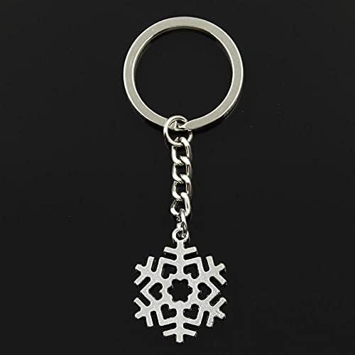 WANM Glanzende creativiteit Sleutelhanger 29x23mm Sneeuw Sneeuwvlok Hangers DIY Mannen Sieraden Auto Sleutelhanger Ring Houder Souvenir