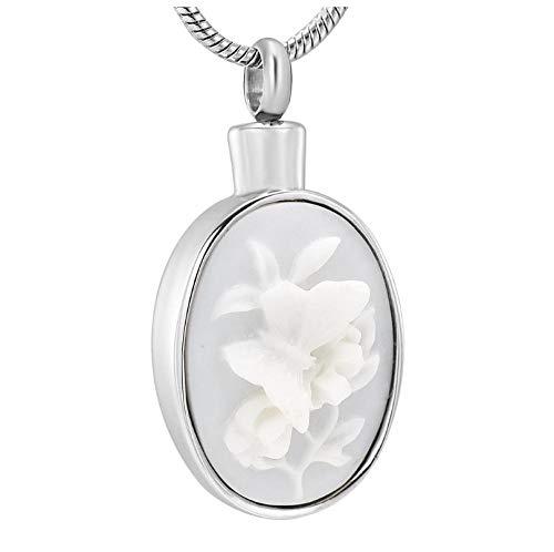 Wxcvz Colgante para Conmemorar Colgante De Urna Conmemorativa De Recuerdo De Flores, Collar De Urna De Cremación Ovalada De Acero Inoxidable, Joyería para Mujeres, Urna Funeraria