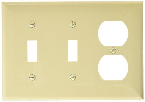 Morris 81260 Lexan Wall Plate, 3 Gang, 1 Duplex, 2 Toggle, Ivory