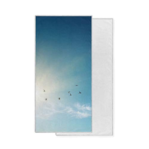 XiangHeFu Ultra Suave Altamente Absorbente Gimnasio multipropósito Blue Sky Birds Bath Toalla...
