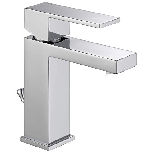 Delta Faucet Modern Single Hole Bathroom Faucet, Single Handle Bathroom Faucet Chrome, Bathroom Sink Faucet, Drain Assembly, Chrome 567LF-PP, 7.63 x 6.00 x 7.13 inches