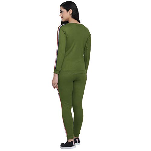 Shocknshop Poly Cotton Striped Design Full Sleeve Co Ords Tracksuit For Women and Girls (TRK61) (30 Waist, Green)
