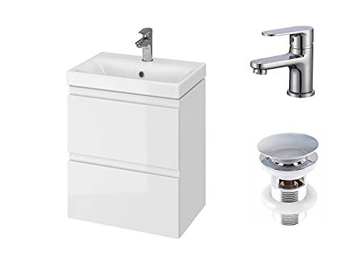 VBChome Badmöbel 50 cm Slim Weiß mit Armatur und Pop-up ventil Waschbecken mit Unterschrank Waschtisch 2-Schubladen hängeschrank Click-Clack