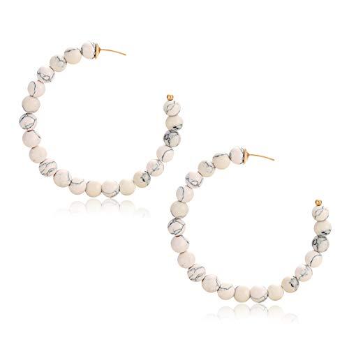 BSJELL Natural Stone Hoop Earrings For Women Girls Handmade Beaded Hoop Earrings Large Open Circle Round Earrings (White)