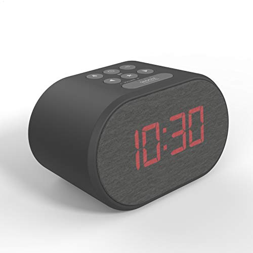 Alarm Clock Bedside Non Ticking LED Backlit Alarm Clock with USB Charger & FM Radio, 5 Step Dimmable Display - Wall Outlet Powered with Battery Backup (Black)