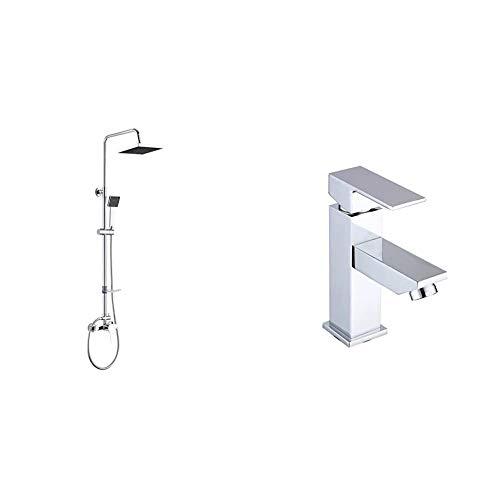 DP Grifería - Set de ducha extensible con grifo monomando incluido, color plateado, modelo Azabache + Grifería - Grifo monomando de lavabo, color plateado, serie Arce