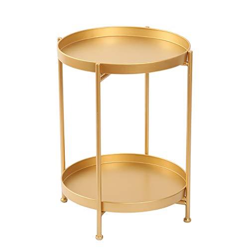 Petite table basse Petite table double couche Iron art Petite table ronde Nordic Simple/salon/canapé/côté/coin (Couleur : C)