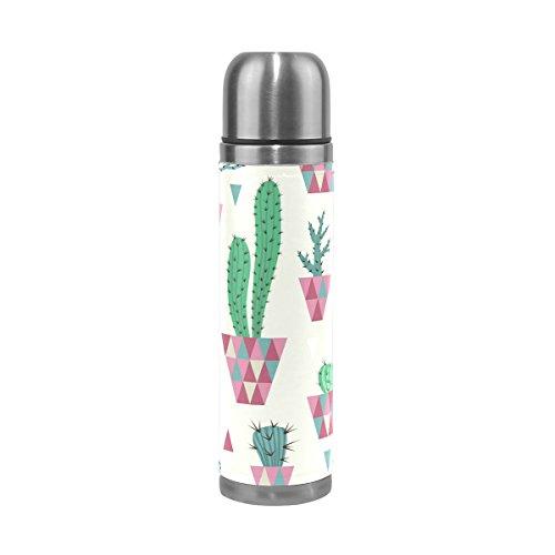 Ffy Go Travel Mug, Tropical Cactus Impression personnalisé Thermos en acier inoxydable LeakProof Thermos isotherme extérieur Cuir pour filles garçons 500 ml