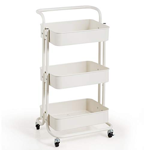 Giantex 3-Tier Rolling Cart, Metal Utility Cart, Kitchen Trolley Serving Cart with Top Handle, Lockable Casters and 3 Mesh Storage Baskets, Mobile Organizer Cart for Home and Office (White)