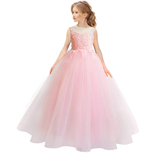CQDY Sukienka z koronką, na wesele, dla druhny, dziewczynki z kwiatami, formalna sukienka na imprezę, na bal, Boże Narodzenie, urodziny, prezent