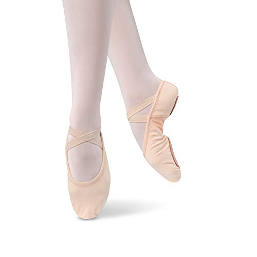 Danshuz Women's Canvas Stretch Ballet Shoes, Pink Canvas, Nylon, Spandex, 8.5 M